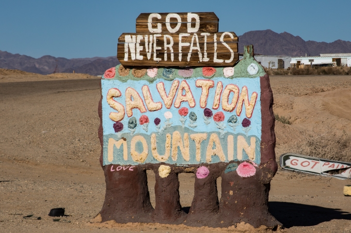 Besides the spirit of Leonard, Salvation Mountain is primarily made out of adobe, straw and lots of Paint.